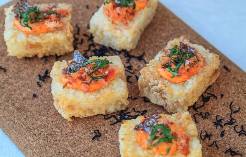 Tutka Bay's Rice Cakes with Smoked Alaska Salmon