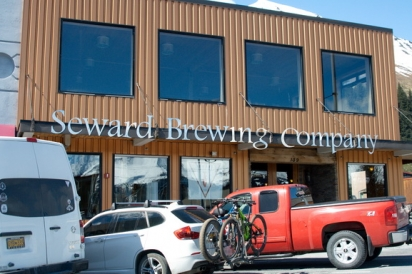The exterior of Seward Brewing, on the corner of 4th and Washington in downtown Seward, AK.